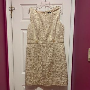 Gold and off white, textured print shift dress